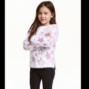 H&M white and pink fluffy stars sweater